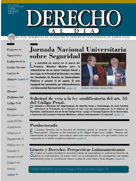 Tapa de Derecho al Día - Edición 54