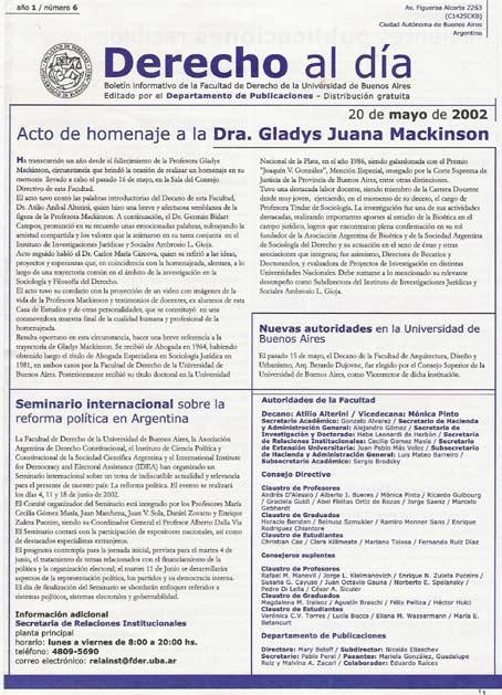 Tapa de Derecho al Día - Edición 6
