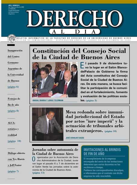 Tapa de Derecho al Día - Edición 61