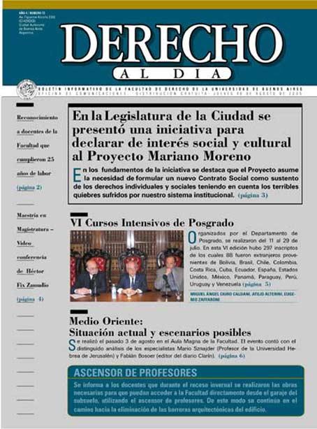 Tapa de Derecho al Día - Edición 72