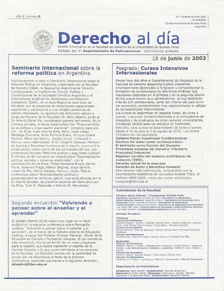 Tapa de Derecho al Día - Edición 8