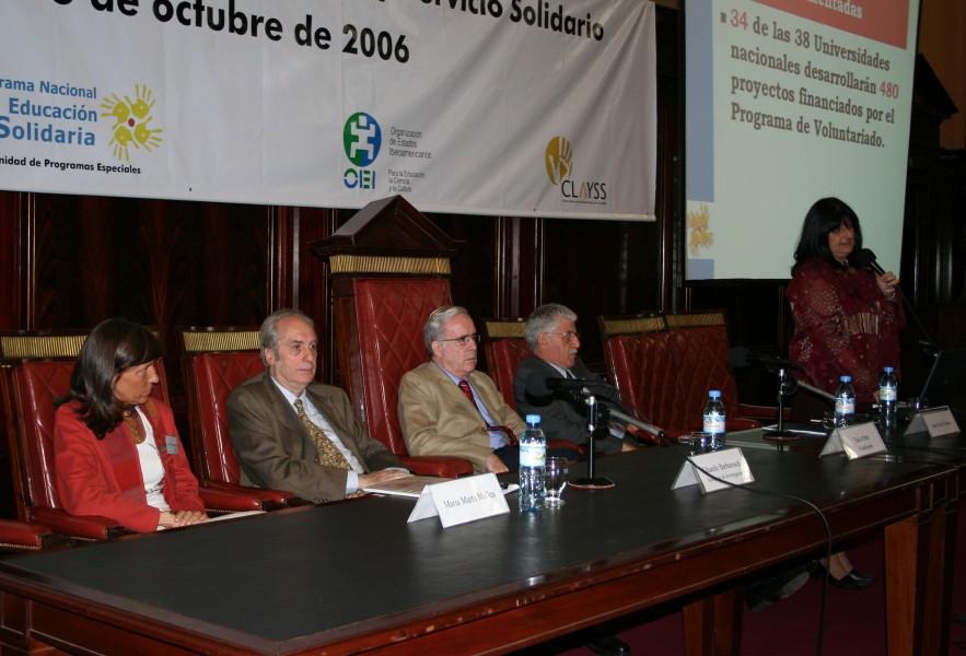 María Marta Mallea, Eduardo Barbarosch, Tulio Ortiz, Juan Carlos Tedesco y María Nieves Tapia