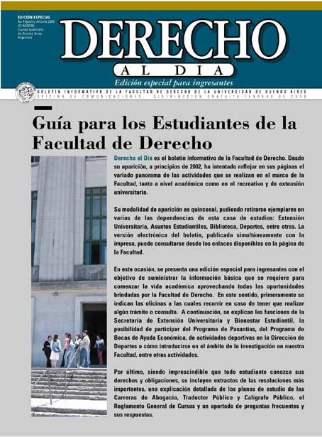 Tapa de Derecho al Día - Guía de estudiantes 2005