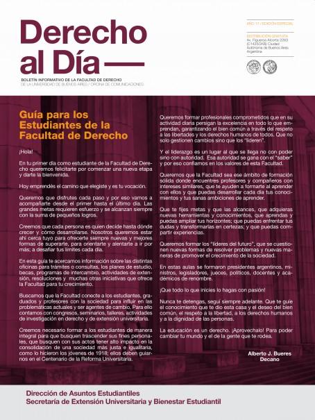 Tapa de Derecho al Día - Guía de Estudiantes 2018