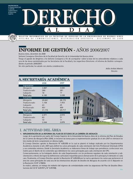 Tapa de Derecho al Día - Informe de Gestión 2006-2008